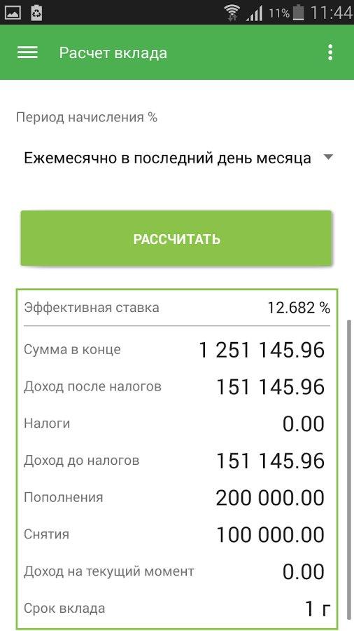 расчет кредита онлайн калькулятор банков по вкладам