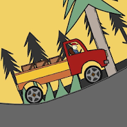 Hills, trees and truck!